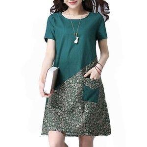 Rotita Green Short Sleeve Floral Patchwork Tunic Dress
