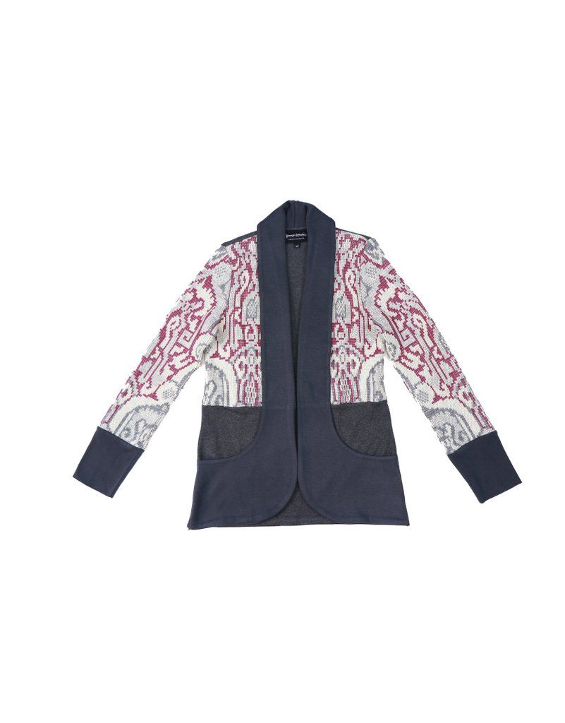 fa3099c50a5 Grey, pink and white upcycled cardigan sweater with shawl collar and ...