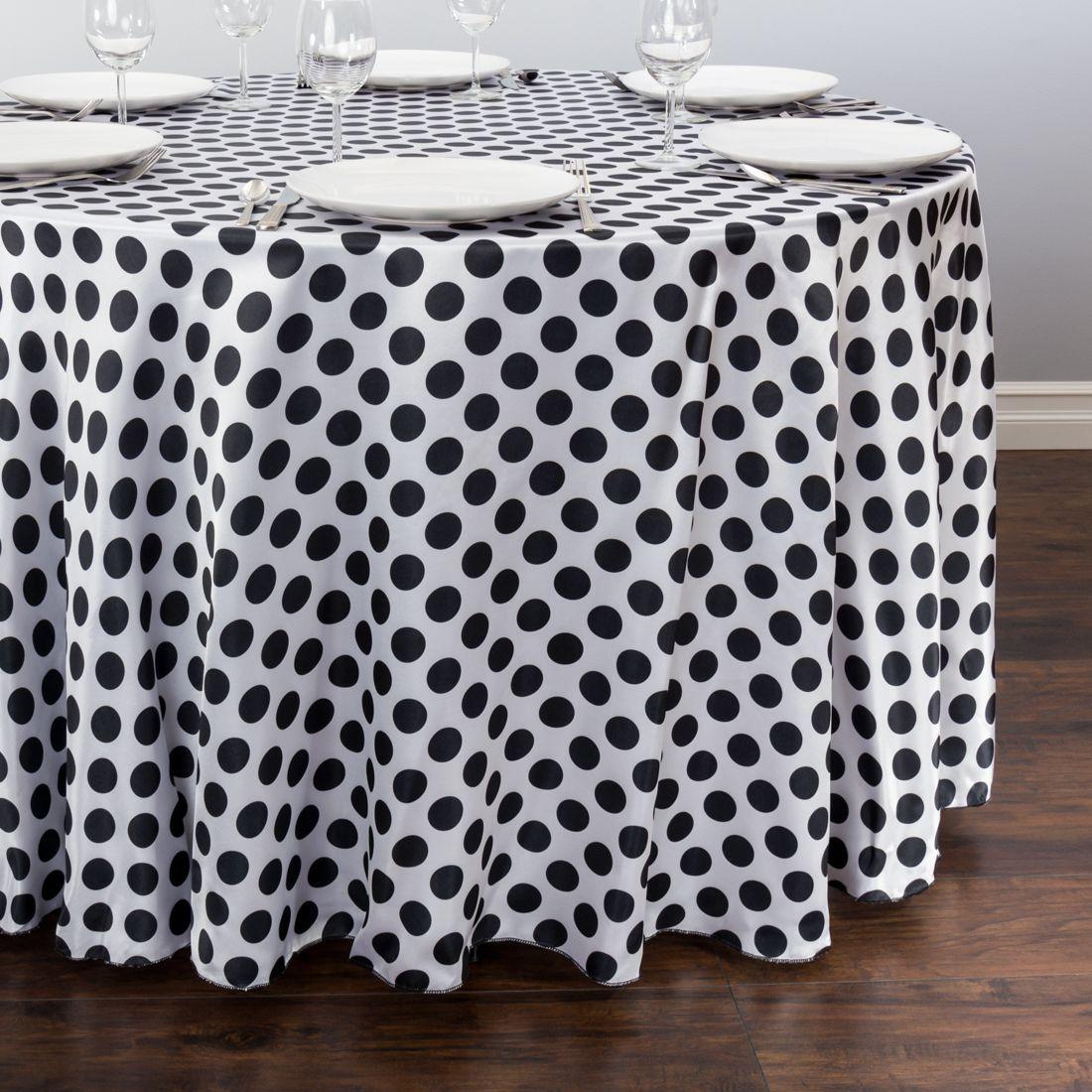 Round Polka Dot Satin Tablecloth White / Black