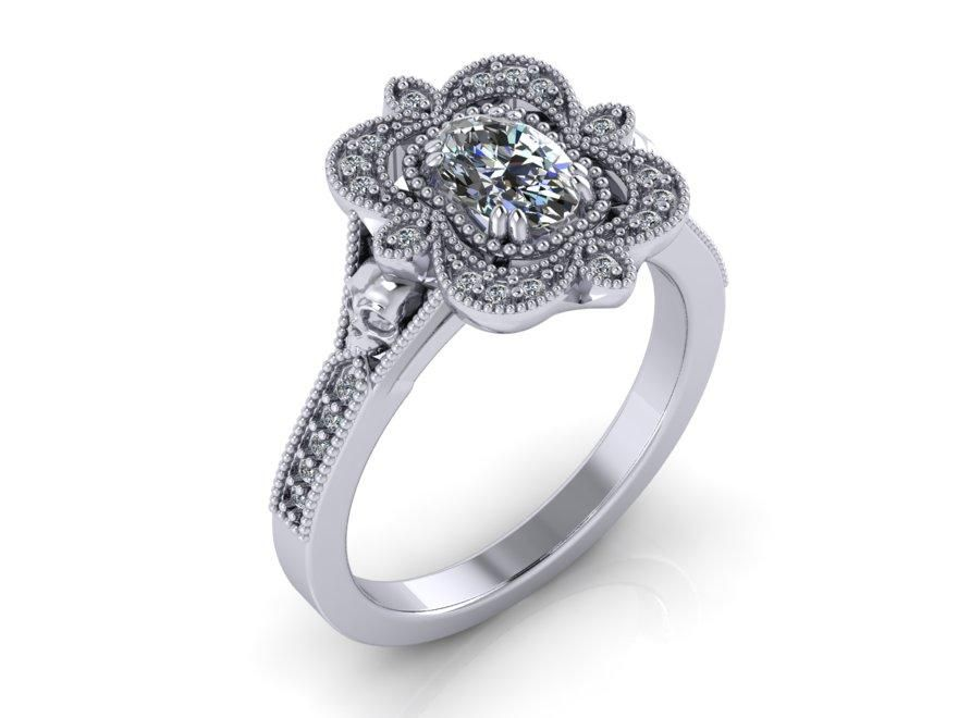 Beaded Crown Engagement Ring-UDINC0681