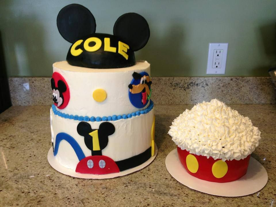 Mickey Mouse Clubhouse Birthday Cake And Smash Www Facebook Com Allcakedup4u