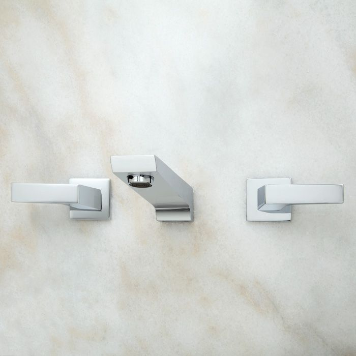 Cheval Wall Mount Lavatory Faucet with Lever Handles - Chrome