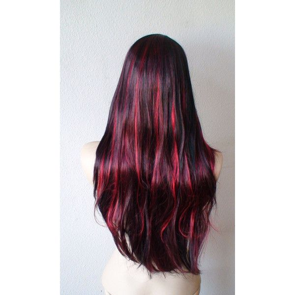 Black Hair With Burgundy Red Highlight Wig Long Straight Hair With Side Bangs Synthetic Wig Hair Highlights Hair Styles Burgundy Hair