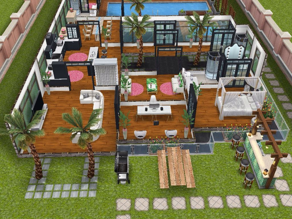House 76 ground level #sims #simsfreeplay #simshousedesign | Sims ...