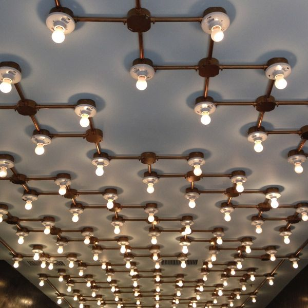 Rejuvenation industrial we 39 ll admit we 39 re jealous of this for Pipe ceiling lighting