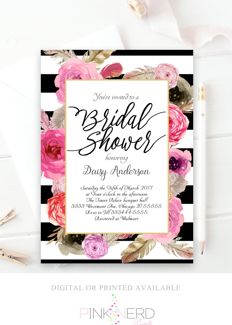 Bridal Shower Invitation, Gold Glitter Invitation, Floral Bridal Shower Kate  Spade Inspired   Pink