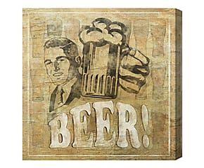 Stampa da parete canvas su legno Beer! - 51x51x4 cm