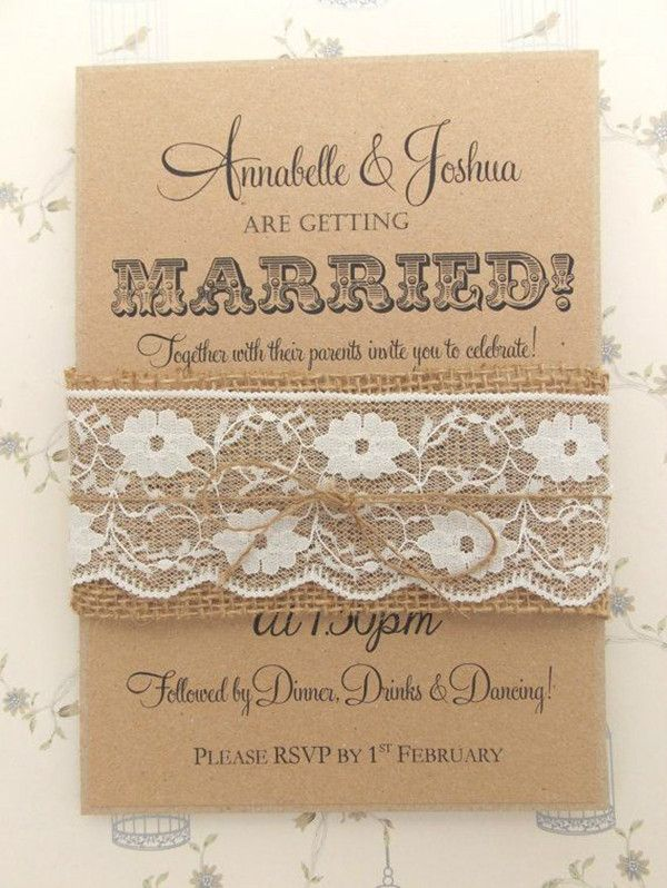 DIY Hochzeitskarten Mit Spitze Leinen Und Hanfseil Hochzeitsideen 2015: DIY  Traumhafte Einladungskarten Und Gastgeschenke Hochzeit