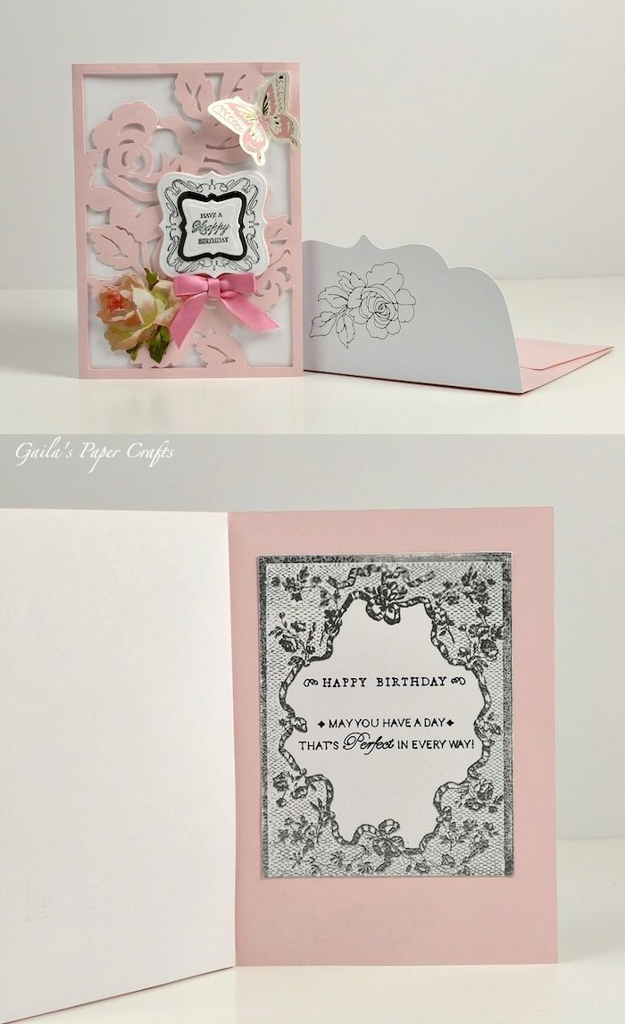 Birthday Card Made Using Anna Griffin Garden Flowers Cricut Cartridge Rose  Card, Anna Griffin Sentiment