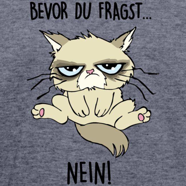 Katzen T-Shirts | Mit lustigen Katzen-Motiven bedruckte Shirts und Geschenke für Katzenfreunde | Männer Polycotton T-Shirt - bevor du fragst...NEIN - Männer Polycotton T-Shirt