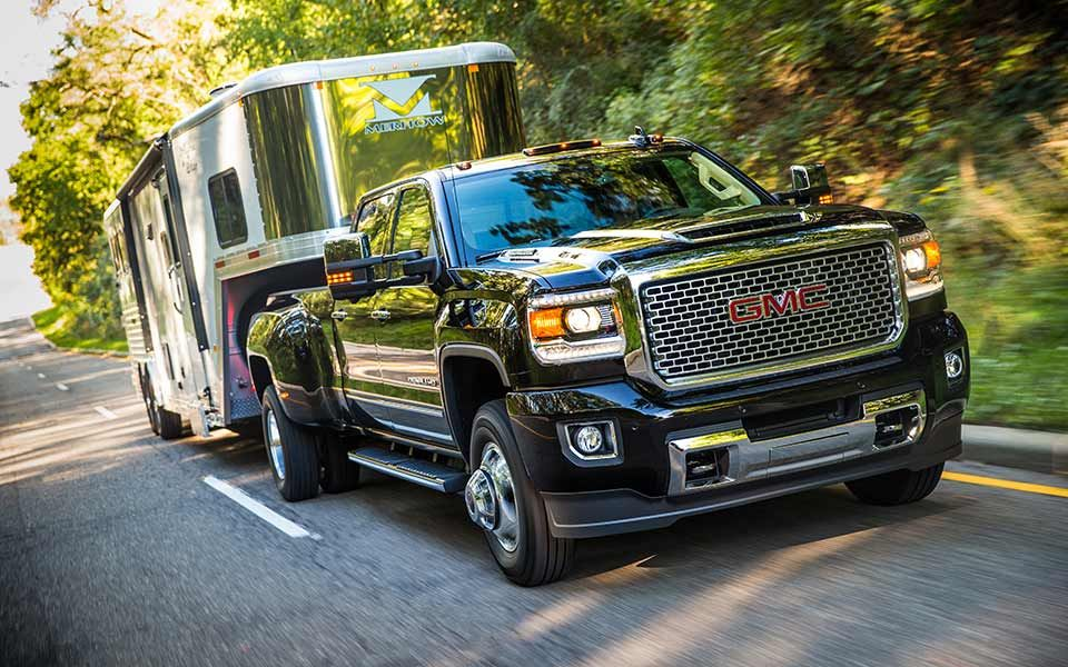 Black Sierra Denali 3500hd Dually Truck With Trailer Gmc Sierra