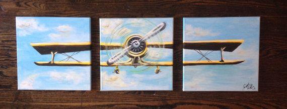 Vintage Biplane Airplane Aviation 3 Piece Large Painting Wall Art Gravuras