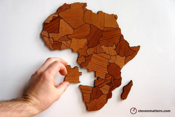 Africa Map Puzzle   Reclaimed Long Leaf Pine | Products | Laser