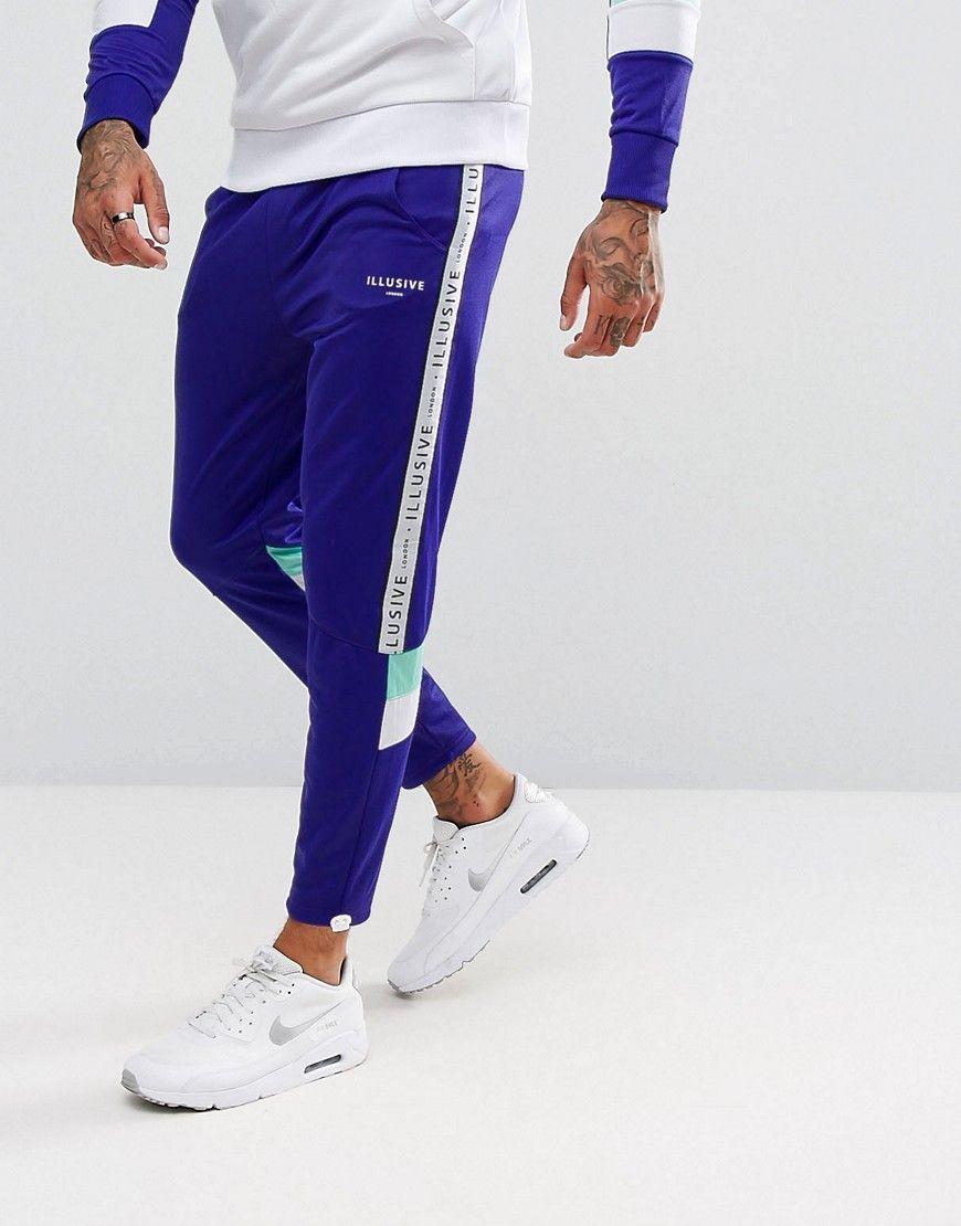 2ca800bf9b54 Illusive London Skinny Track Joggers In Purple With Taping - Purple Mens  Joggers, Sweatpants,