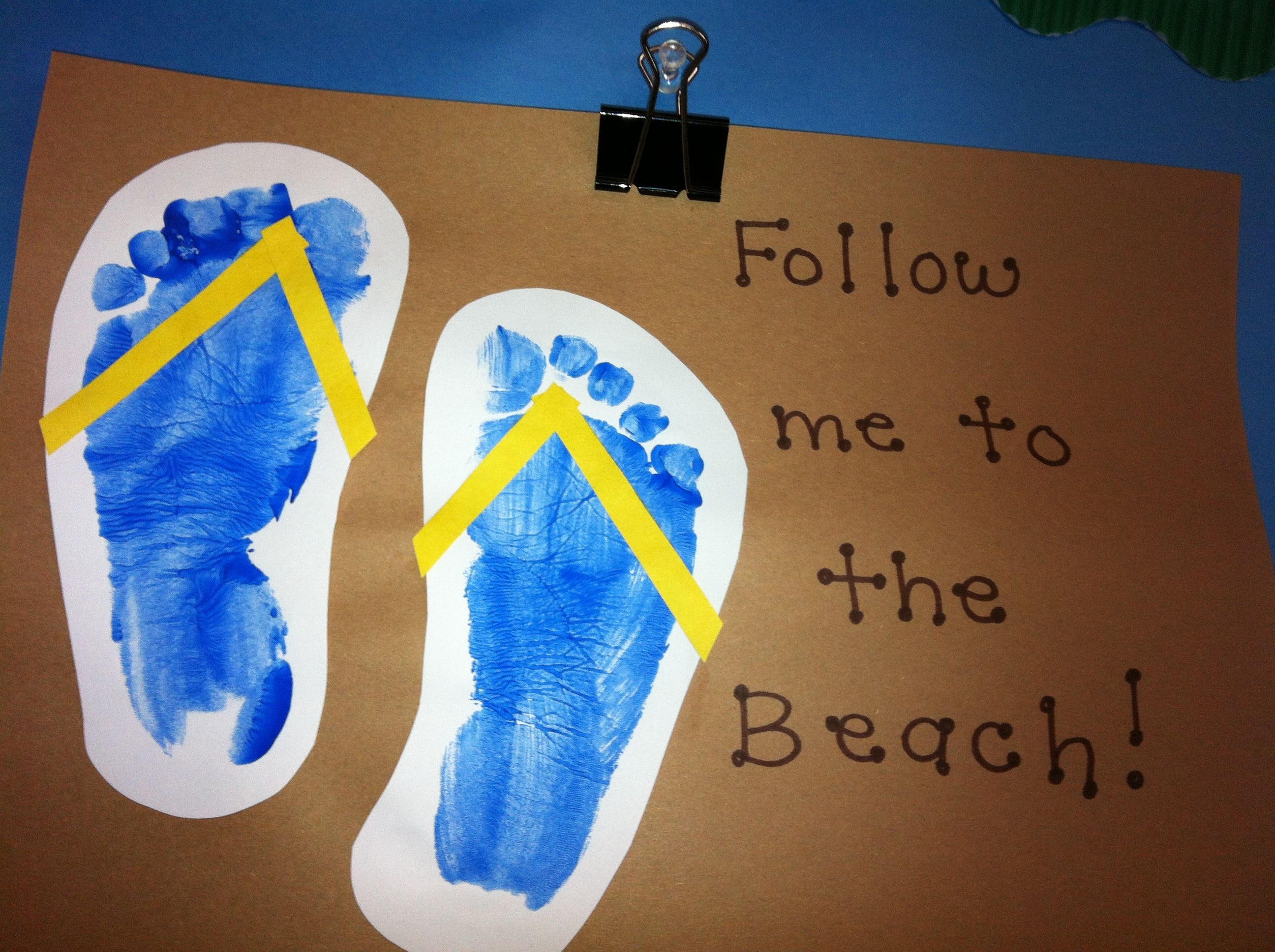 Footprint Flip Flops Summer Activities Luau Crafts