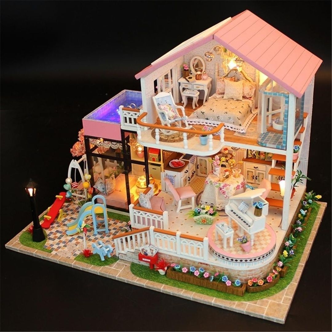 12 Styles DIY Wooden Dollhouse Miniatures Pink Villa Dollhouse Furniture LED Kit Child Learning Toy Gift(Not Include glue&battery&gadget)