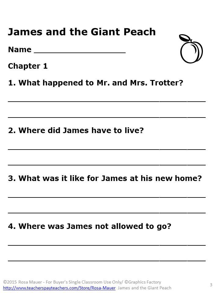 James And The Giant Peach Free Printable Worksheets