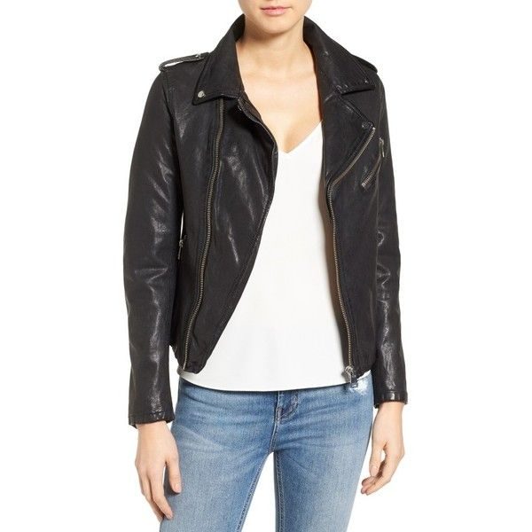 Women's Lamarque Washed Lambskin Leather Moto Jacket (670 CAD) ❤ liked on Polyvore featuring outerwear, jackets, black, biker jacket, moto jacket, lamb leather jacket, lambskin leather jackets and zip front jacket