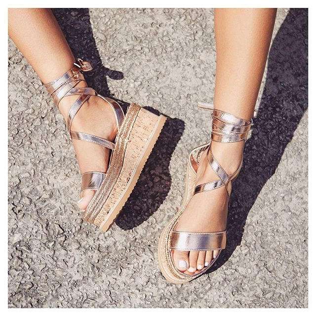 34160d132def Abigail Strappy Espadrille Flatform In Rose Gold Faux Leather. Available in  sizes UK 3-8