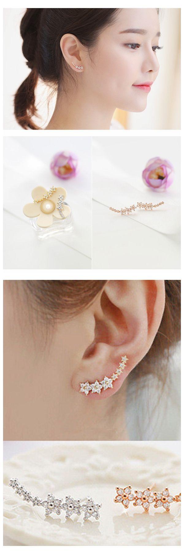 Body piercing needle   Sterling Silver Needle Star Inlay Zircon Stud Earrings  Jewelry