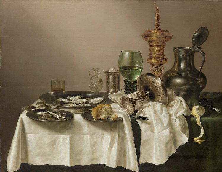 Still life with gilt cup painted by Willem Claesz. Heda 1635 The Rijksmuseum image bank collection