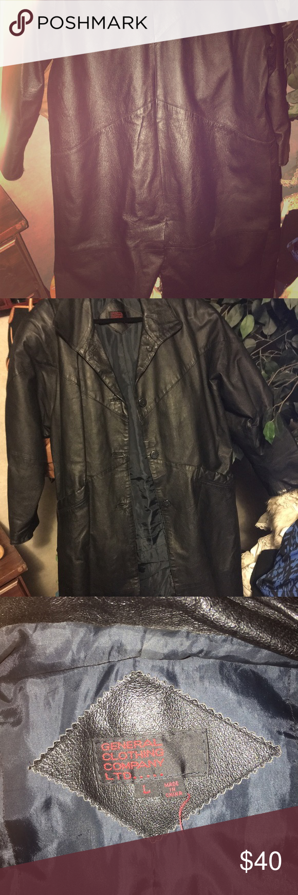 Leather Trench Coat Large Leather Trench coat. Very good shape. Have worn maybe a hand full of times. Needs a good home. 💕💞 general clothing company ltd Jackets & Coats Trench Coats