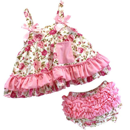 845bcd66bf0 Pink Floral Baby Outfit Baby Girl Outfit Baby Girl Dress Baby Infant Dress  Girl First Birthday Dress Swing Top Bloomer Set by AdassaBaby on Etsy