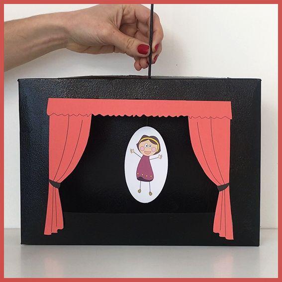 voici un th tre de marionnettes fabriquer avec une bo te de c r ales et des pics brochettes. Black Bedroom Furniture Sets. Home Design Ideas