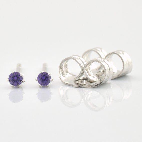 Photo of 2×2 mm White Gold Earrings Tiny Stud Earrings Dainty Jewelry Amethyst Studs Earrings February Birthstone Earrings Girlfriend Gifts For Girl