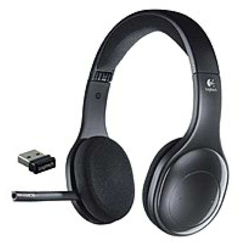 Logitech h supraaural wireless headset usb black