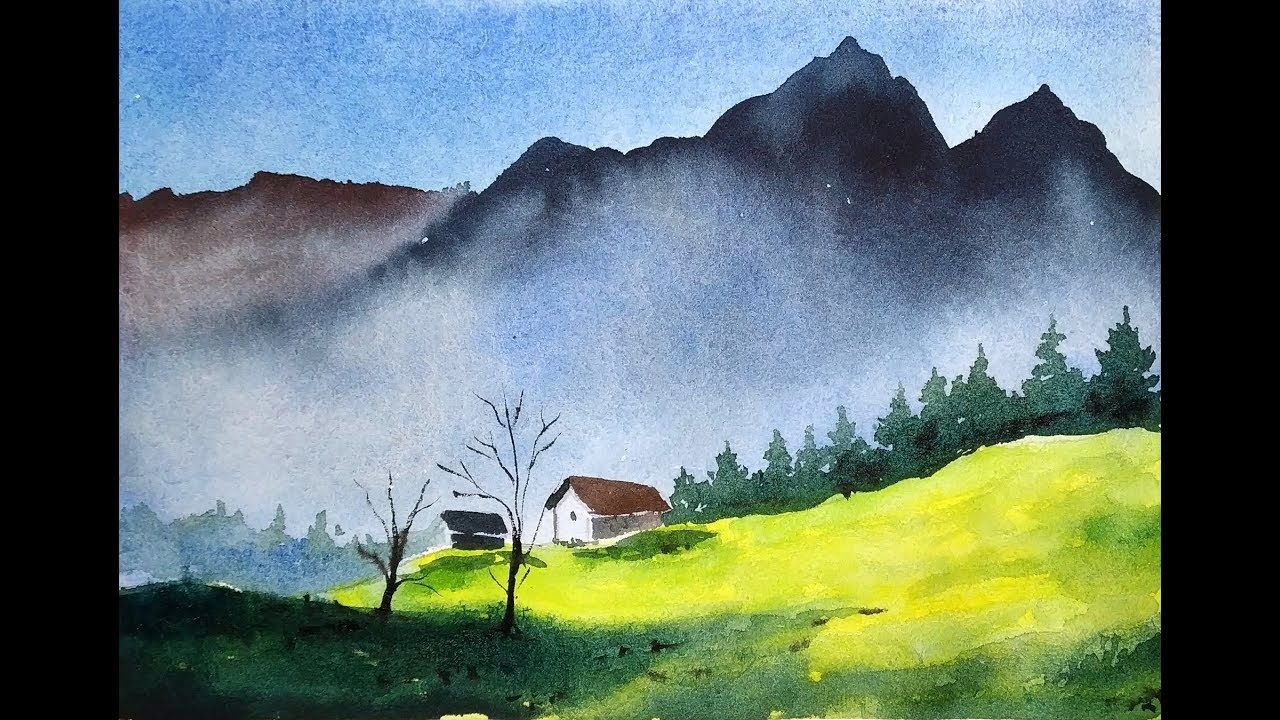 Blue Mountains With Watercolor Paint With David Youtube Watercolor Landscape Paintings Watercolor Art Landscape Watercolor Landscape