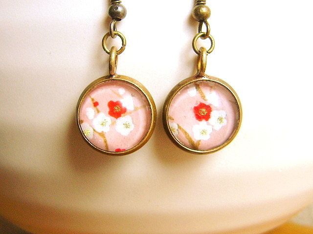 Plum  Blossom Earrings Traditional Japanese Chiyogami Paper Earrings Flower Pink. $12.50, via Etsy.