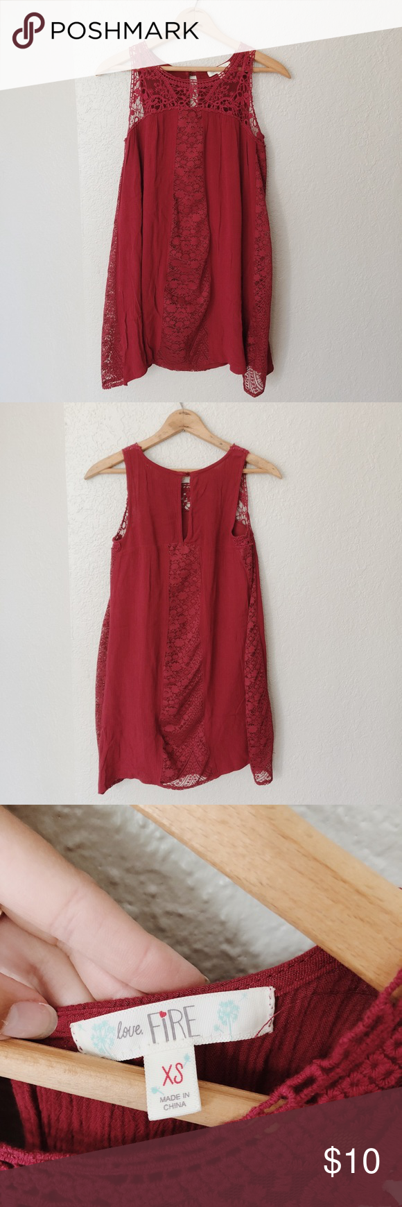 Dark red lace mini dress dark red lace mini dress size xs love fire