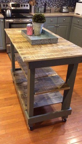 Rustic Pallet Kitchen Island Cart with Adjustable Shelf and Wheels ...