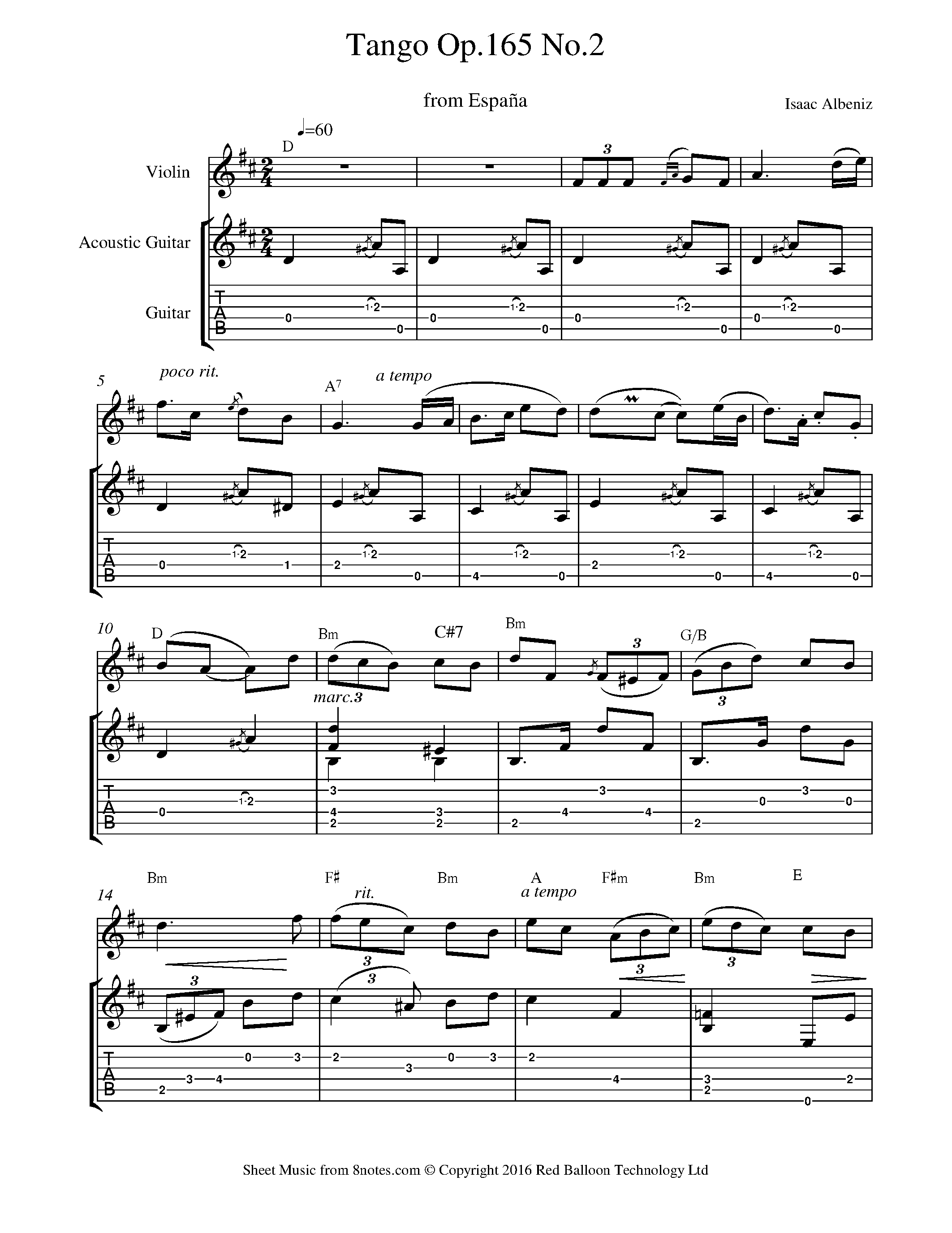 isaac alb niz tango no 2 from espana sheet music for violin guitar duet. Black Bedroom Furniture Sets. Home Design Ideas