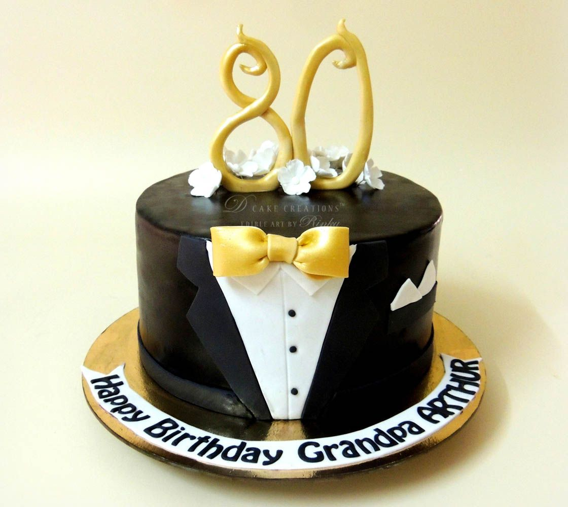 Black suit 80th birthday 1120 1000 2 amazing cakes pinterest cake - Birthday decorations for mens th ...