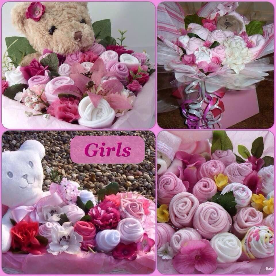 Pink baby gift bouquet made using baby clothes hand wrapped to pink baby gift bouquet made using baby clothes hand wrapped to look like a negle Choice Image