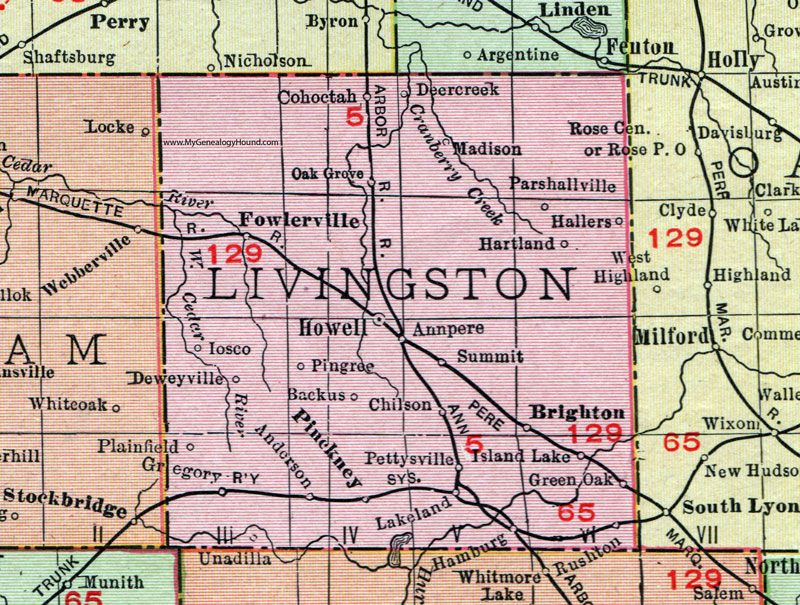 Livingston County Michigan 1911 Map Rand Mcnally Howell Brighton Fowlerville Pinckney Gregory Lakeland Chilson Livingston County Livingston Michigan