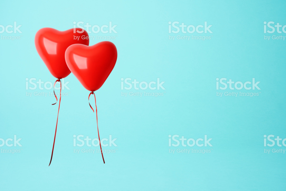 Two Red Heart Shape Balloons Against Blue Background With Copy Space Stock Images Free Blue Backgrounds Heart Shapes
