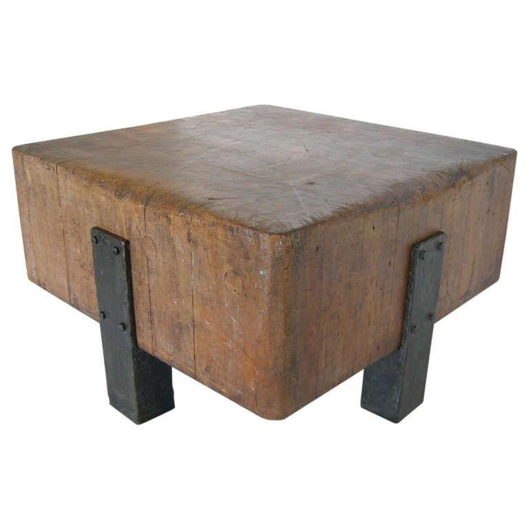 Antique Butcher Block and Iron Table - Antique Butcher Block And Iron Table Cocktails, Butcher Blocks