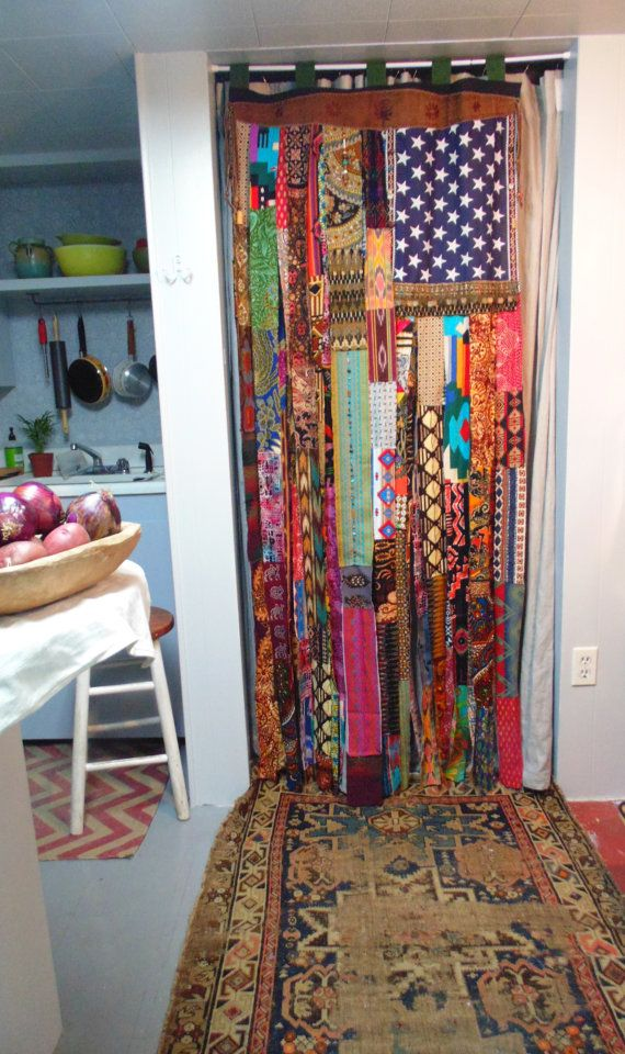 Boho American Flag Bohemian Hand Beaded Coins Door Curtain