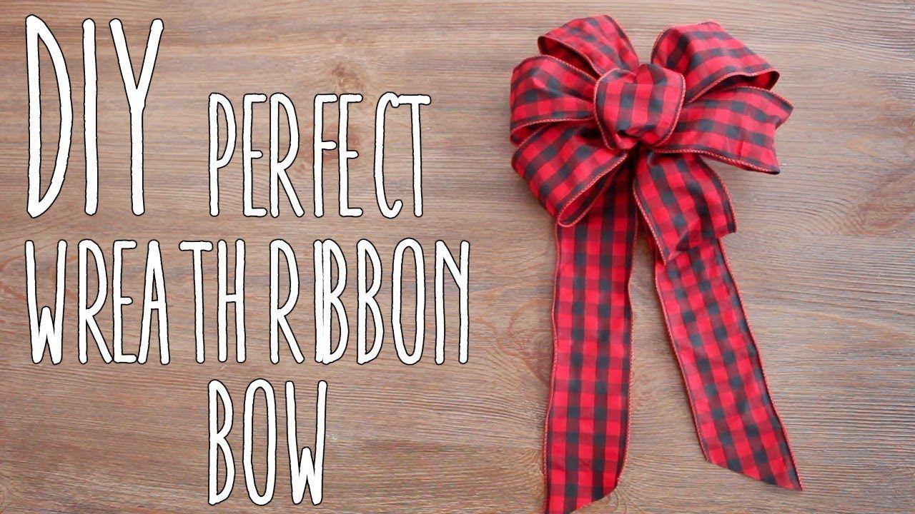 DIY Perfect Wreath Ribbon Bow YouTube Christmas bows