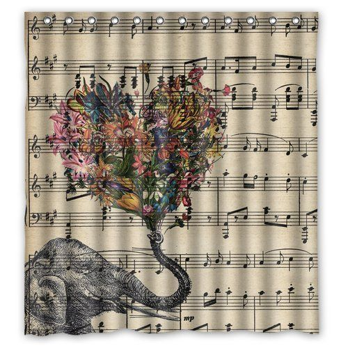 Custom Shower Curtain Music Note And Elephant With Colorful