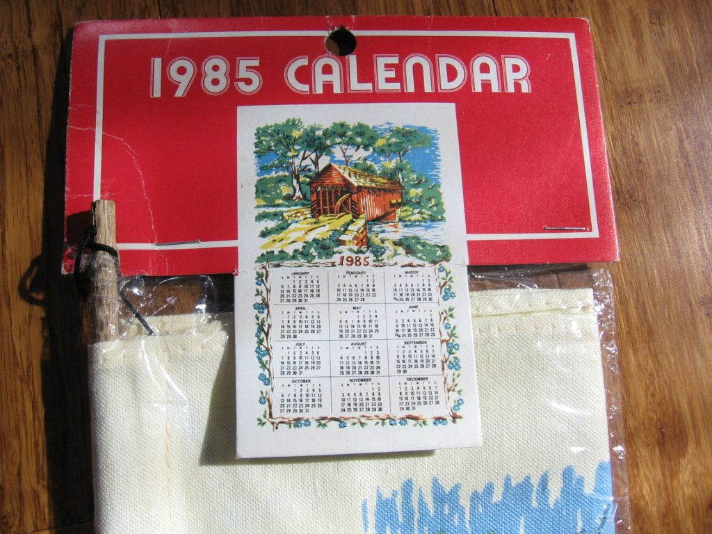 Unique Cotton And Small Paper 1985 Calendar Wood Rollers Hanging