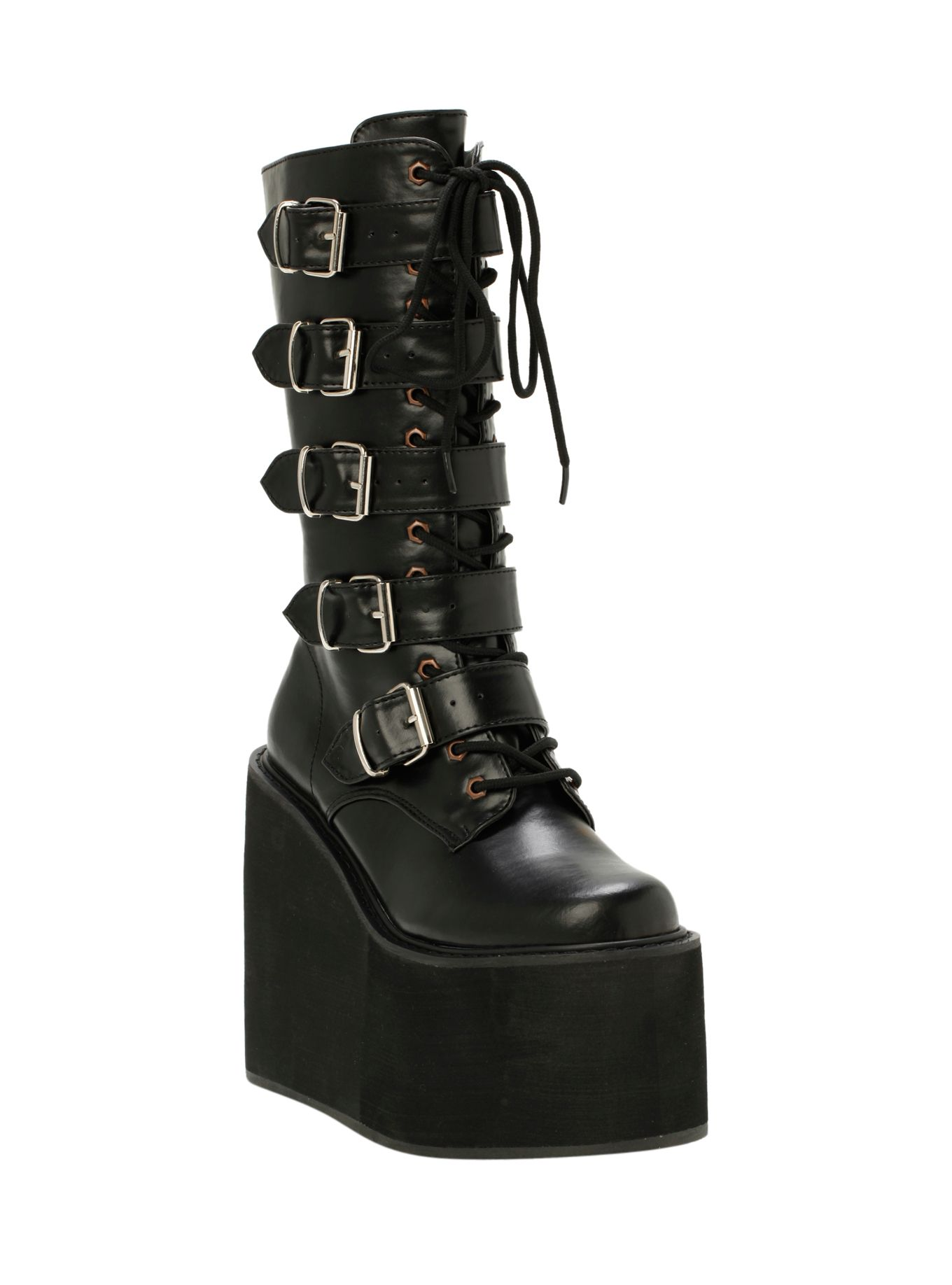 7e96bde8a273 Demonia By Pleaser Black PU Buckle Boots