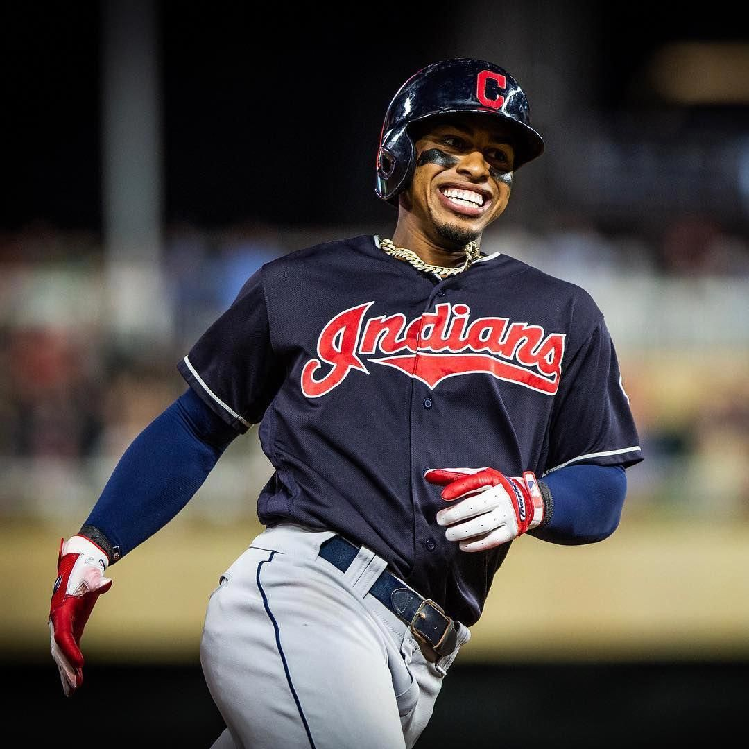 41f54335a90c Cleveland Indians Francisco Lindor rounds the bases after hitting a HR  against the Minnesota Twins at Target Field. Frankie had 2 HRs and 2  doubles.