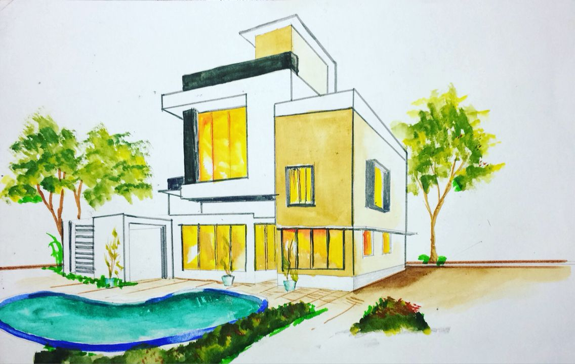 architectural buildings drawings. Architectural 3d Building Drawing.using Watercolour Buildings Drawings