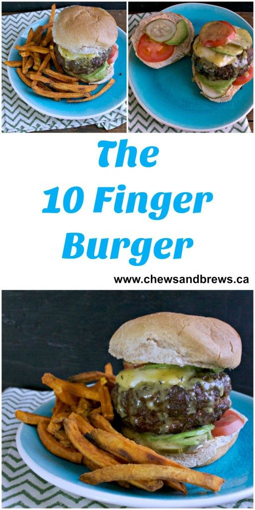 10 Finger Burger - Huge burger, stuffed with caramelized onions and mushrooms and feta cheese! www.chewsandbrews.ca