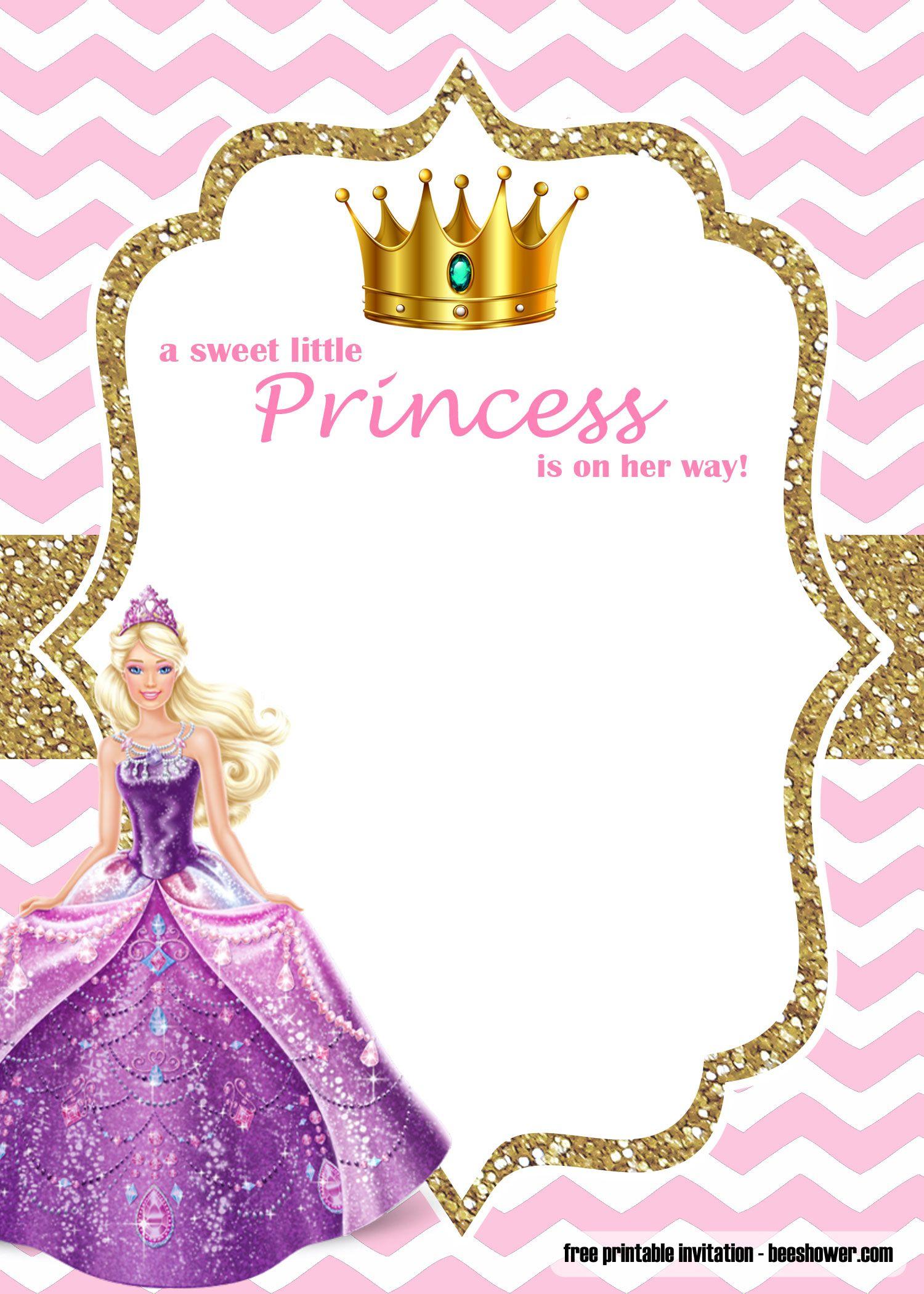 Free Princess Barbie Baby Shower Invitations Templates Disney Princess Invitations Princess Baby Shower Invitation Princess Invitations