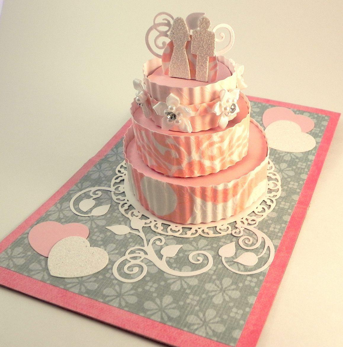 Pop up wedding cake card mini albums pinterest cards kirigami